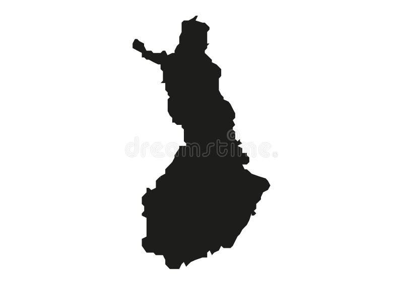 Силуэт вектора карты положения Финляндии иллюстрация штока