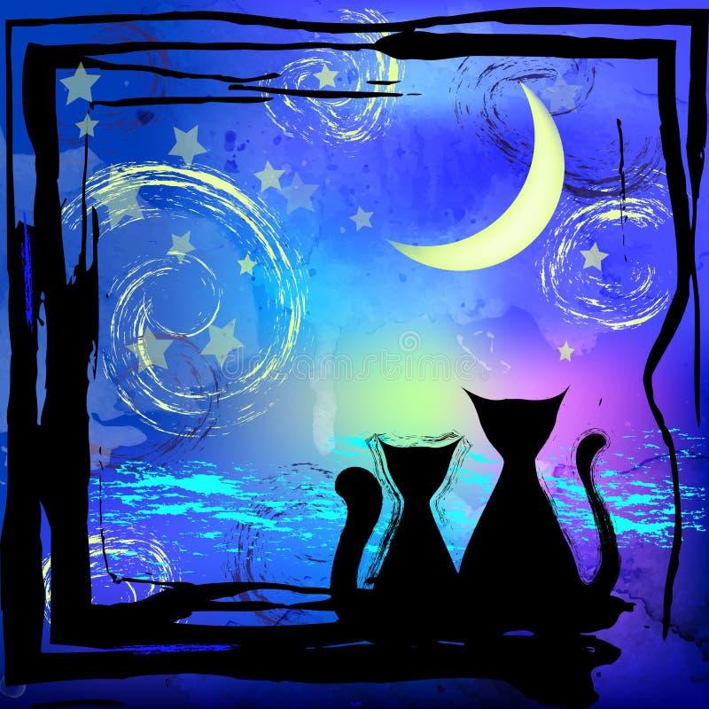 Силуэт вектора 2 котов Красивая голубая предпосылка с изображением захода солнца иллюстрация вектора