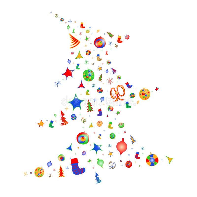Силуэт вектора красочный рождественской елки украшает со светами, звездами, смычками, снежинками и носками иллюстрация штока