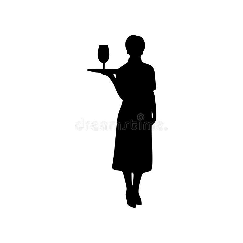 Силуэт вектора официантки женский на белой предпосылке иллюстрация штока