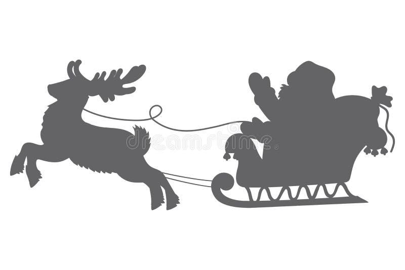 Силуэт вектора Санта Клауса с северным оленем иллюстрация штока