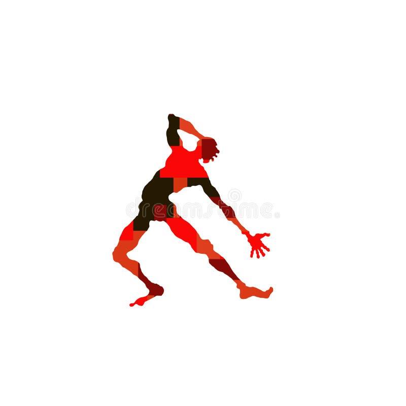 Силуэт вектора человека танцора мультфильма с коричневой конспекта яркой, черной и красной геометрической картиной в выразительно иллюстрация вектора