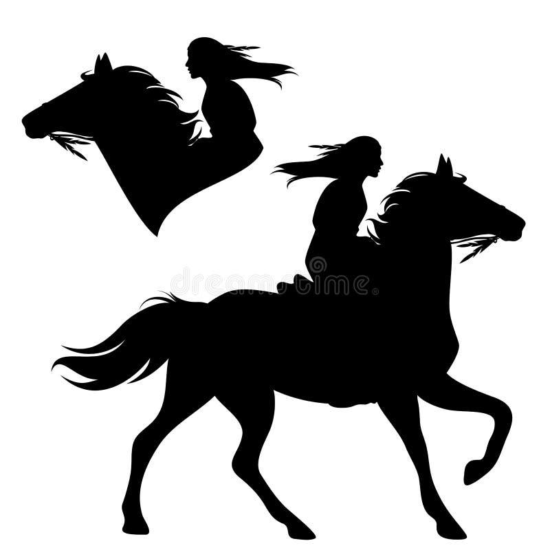Силуэт вектора черноты верховой лошади женщины коренного американца иллюстрация вектора