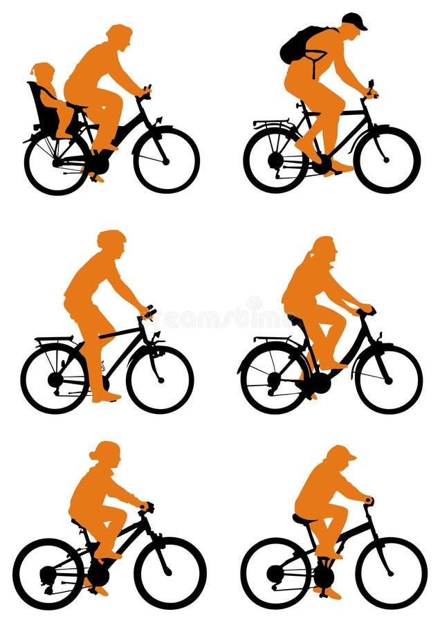силуэт велосипедов иллюстрация вектора