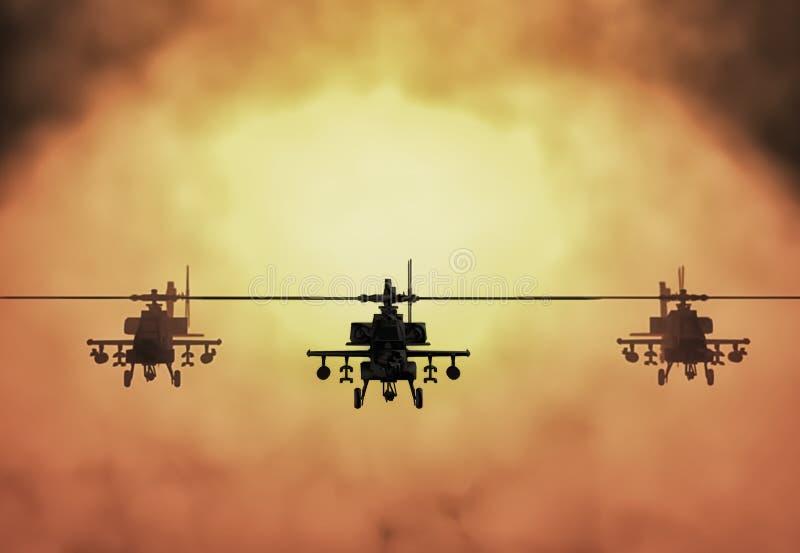 Силуэт вертолета, солдат спасает деятельность вертолета на предпосылке неба захода солнца Вертолет в смоге 3d иллюстрация штока
