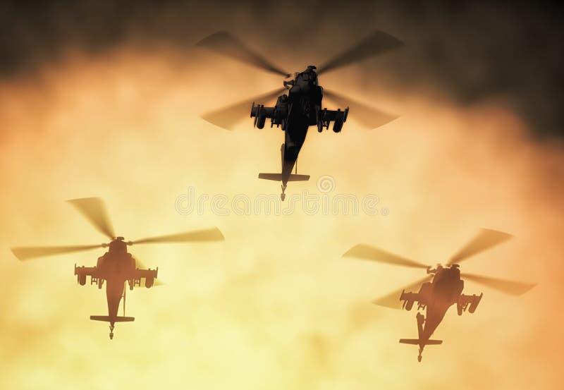 Силуэт вертолета, солдат спасает деятельность вертолета на предпосылке неба захода солнца Вертолет в смоге 3d бесплатная иллюстрация