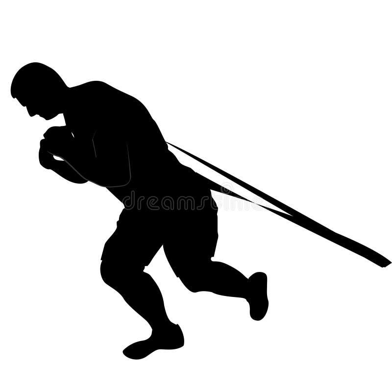 Силуэт веса человека поднимаясь черный & белый иллюстрация вектора