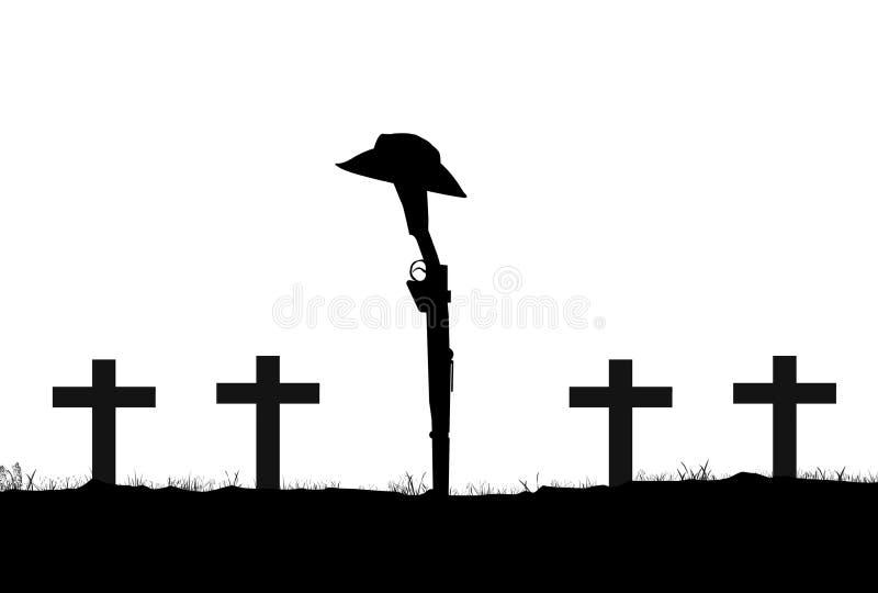 Силуэт винтовки и шляпы ANZAC иллюстрация вектора