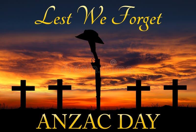Силуэт винтовки и шляпы ANZAC иллюстрация штока
