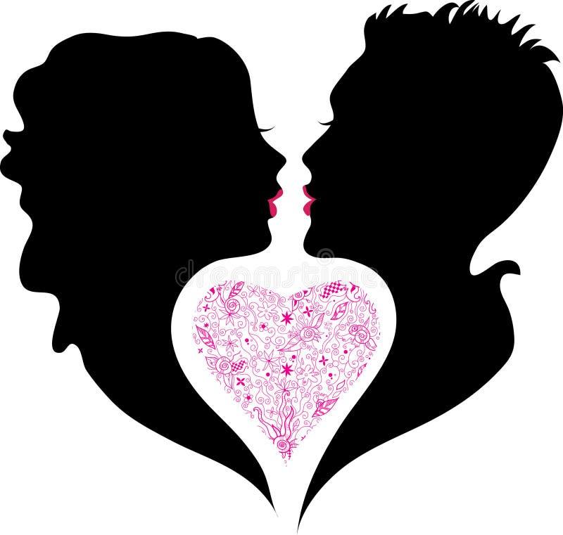 силуэт влюбленности девушки мальчика иллюстрация вектора