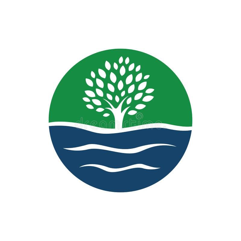 силуэт вода и векторные графические элементы логотипа деревьев иллюстрация штока