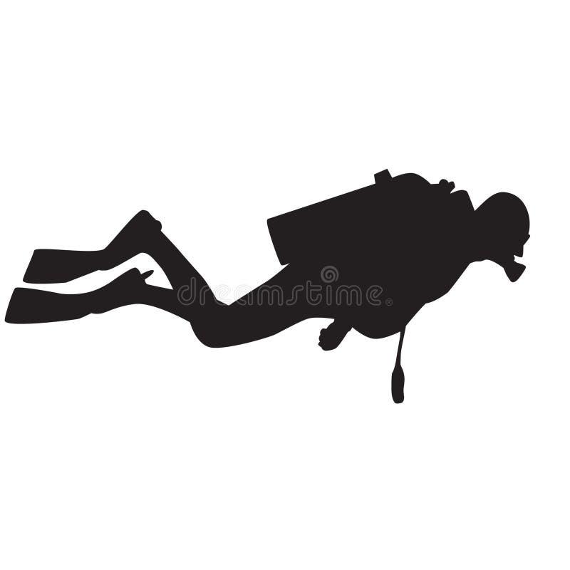 силуэт водолаза иллюстрация штока