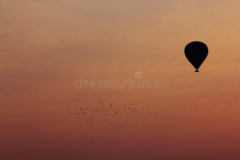Силуэт воздушного шара с апельсином стоковая фотография