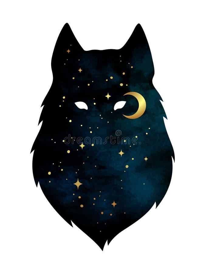 Силуэт волка при серповидная изолированные луна и звезды Иллюстрация вектора дизайна стикера, печати или татуировки Языческий тот бесплатная иллюстрация