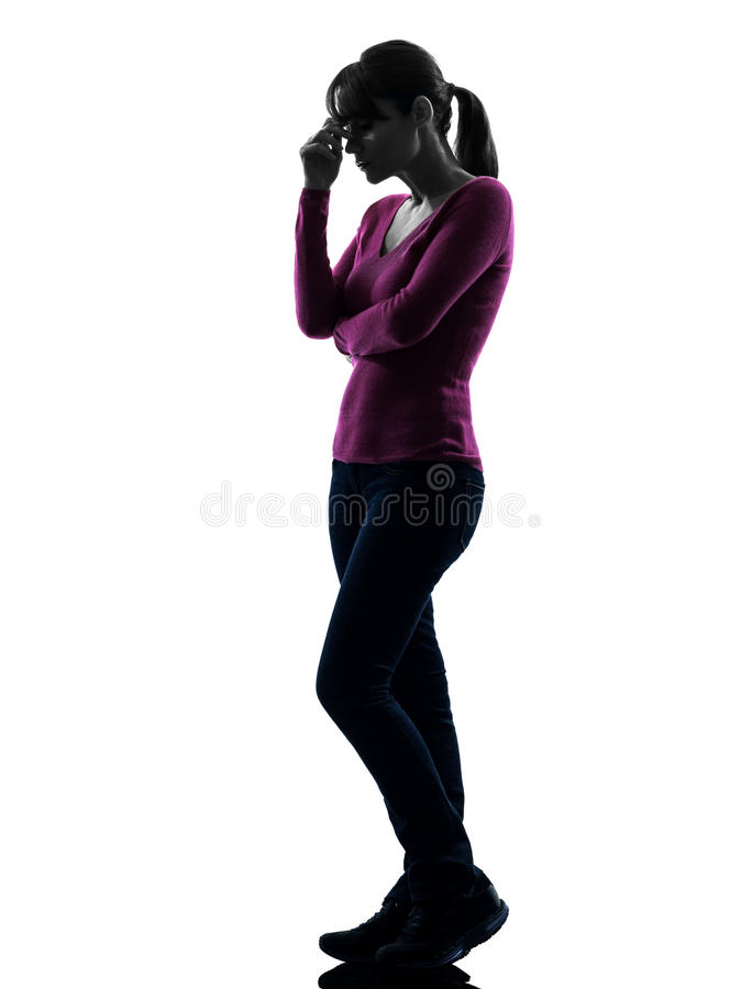 Силуэт во всю длину тоскливости женщины думая стоковые фотографии rf