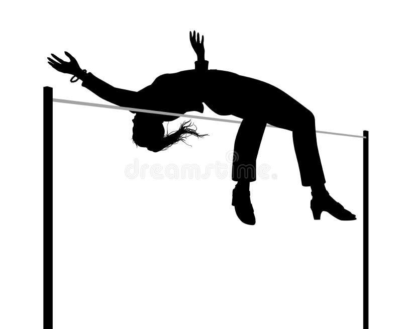 Силуэт высокого прыжка коммерсантки иллюстрация вектора