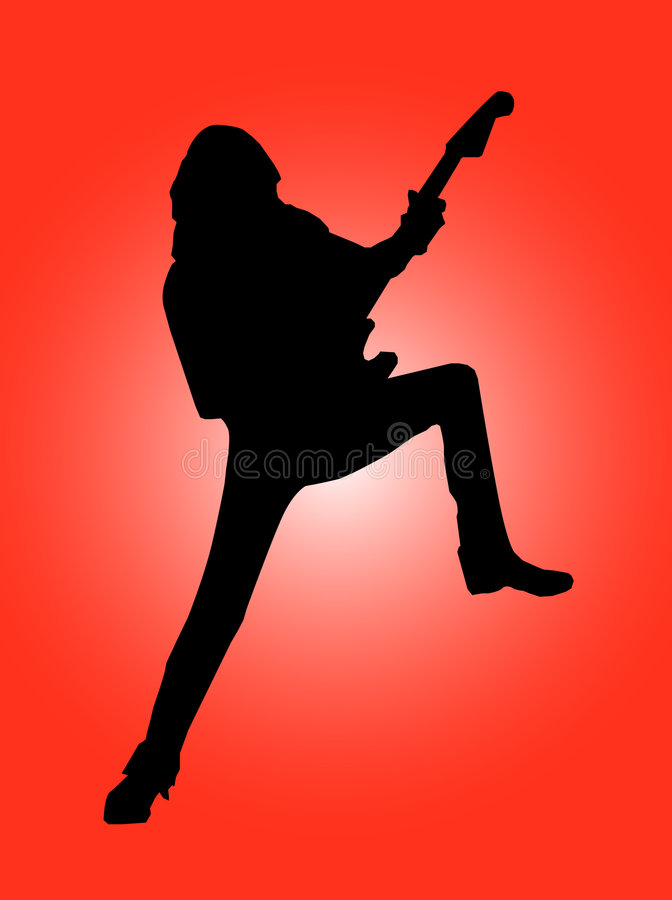 силуэт гитариста стоковое фото rf