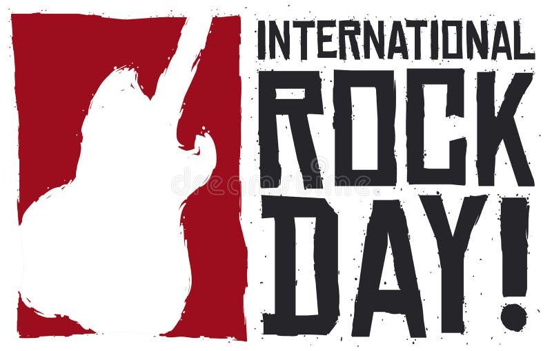 Силуэт гитары в стиле Brushstroke на международный день утеса, иллюстрация вектора иллюстрация штока