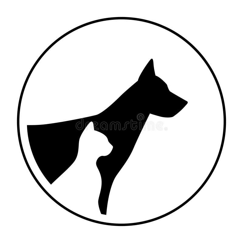 Силуэт головы портрета животных кота собаки знака логотипа бесплатная иллюстрация