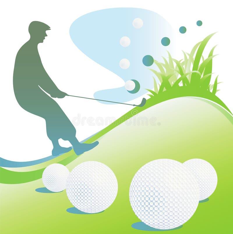 силуэт гольфа предпосылок иллюстрация вектора