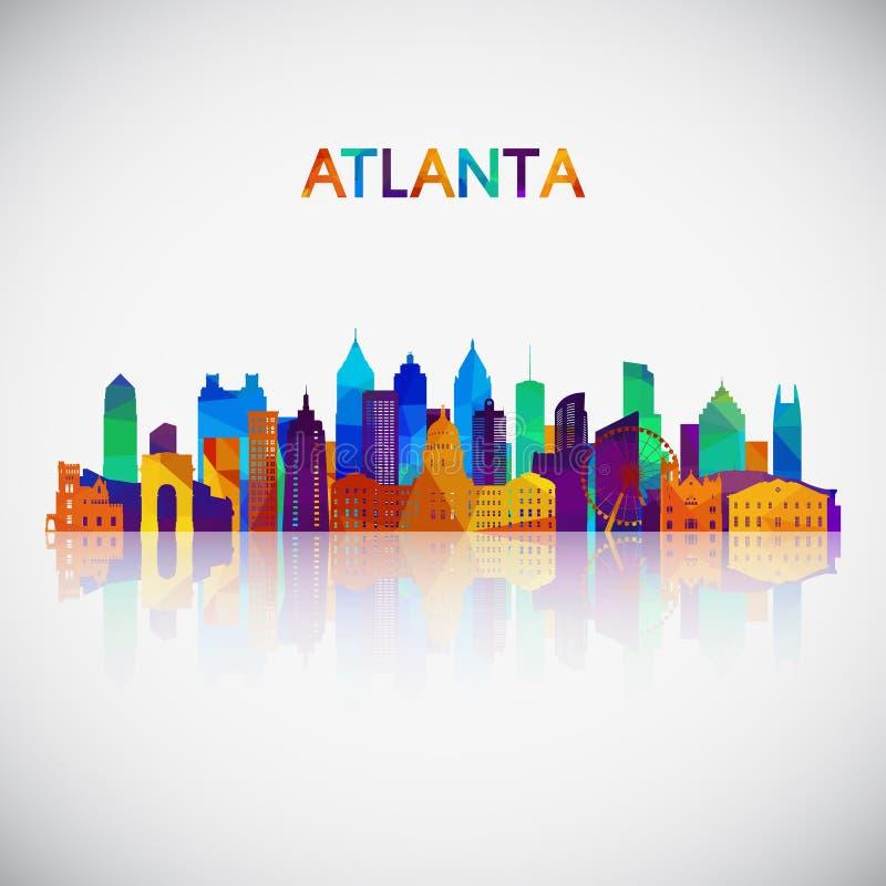 Силуэт горизонта Атланта в красочном геометрическом стиле