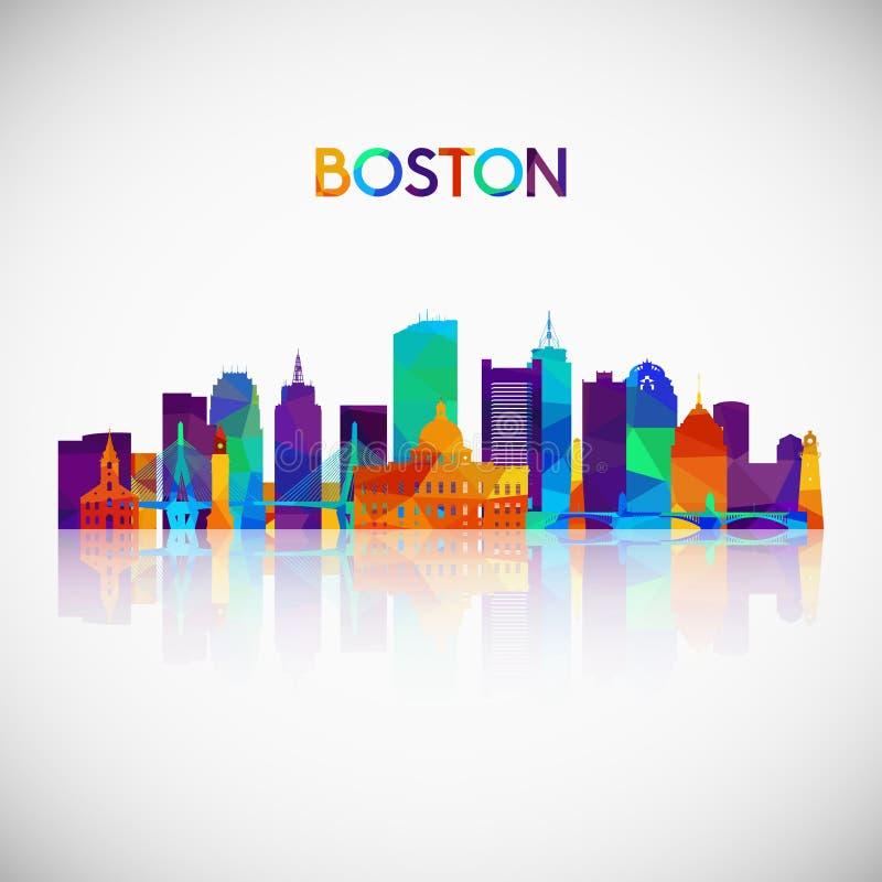 Силуэт горизонта Бостона в красочном геометрическом стиле