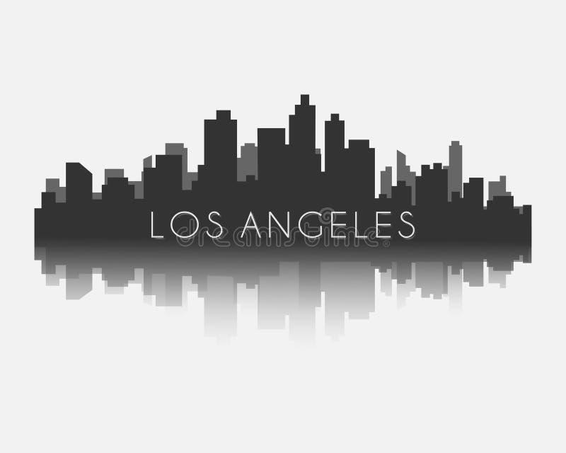 Силуэт горизонта города Лос-Анджелеса с иллюстрацией вектора отражения иллюстрация вектора