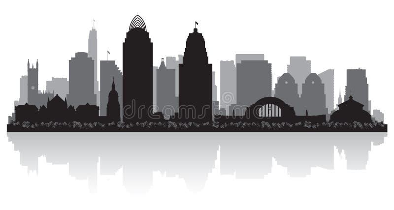 Силуэт горизонта города Цинциннати Огайо иллюстрация вектора