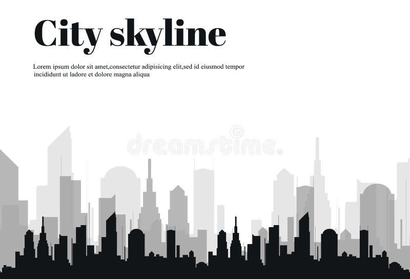 Силуэт города в плоском стиле урбанское ландшафта самомоднейшее также вектор иллюстрации притяжки corel бесплатная иллюстрация