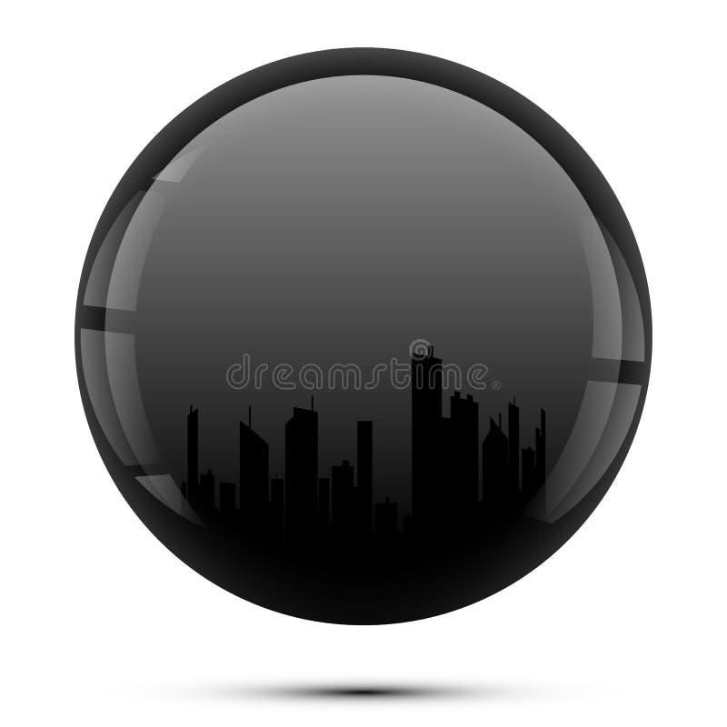 Силуэт города в черной сфере иллюстрация вектора