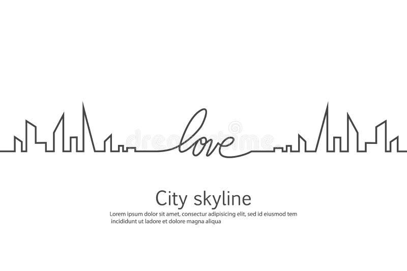Силуэт города и сердца и влюбленности в непрерывном чертеже выравнивается в плоском стиле урбанское ландшафта самомоднейшее векто иллюстрация штока