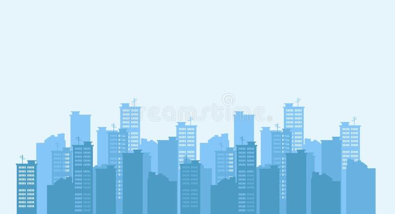 Силуэт города Предпосылка городского пейзажа ландшафт урбанский иллюстрация штока