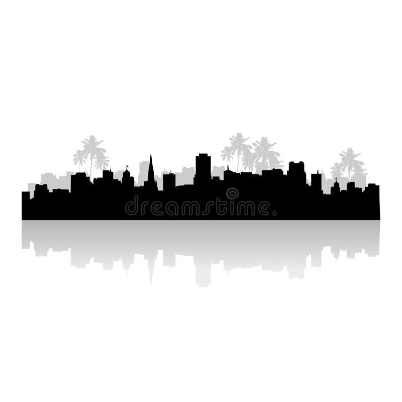 силуэт городского пейзажа тропический иллюстрация штока