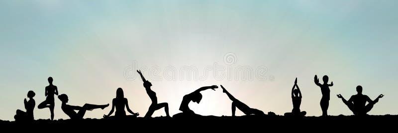 силуэт группы йоги на заходе солнца иллюстрация вектора