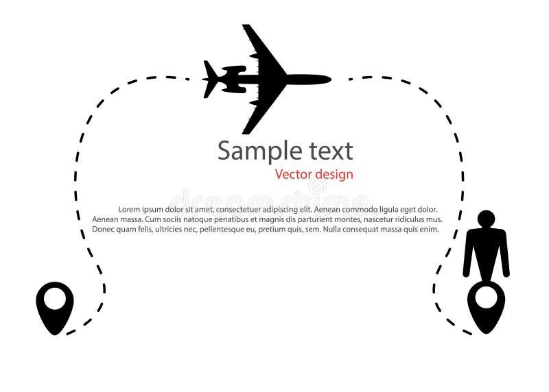 Силуэт движения полета воздушных судн, траектории, пунктирной линии маршрута Pin карты в форме человека значков, назначения иллюстрация вектора
