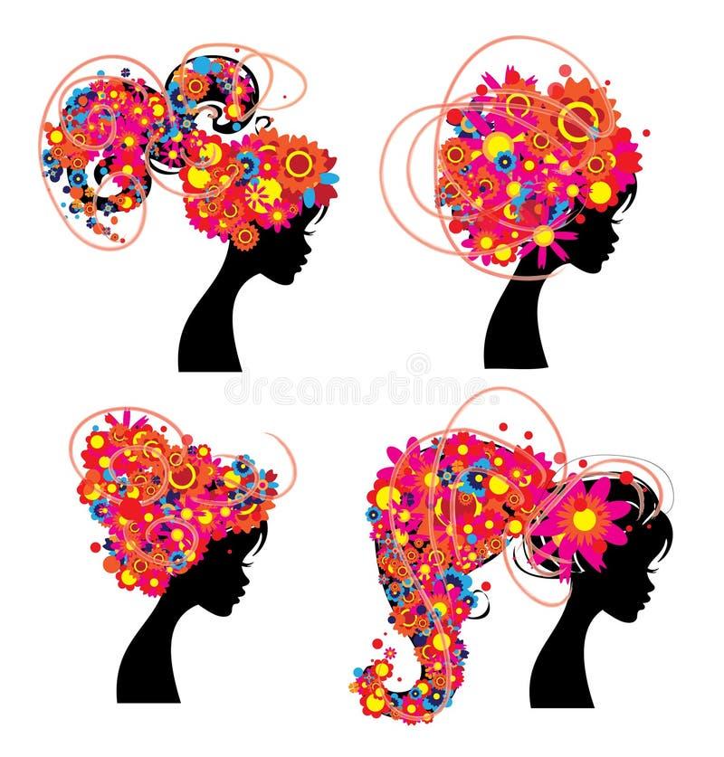 Силуэт девушек головной при розовые изолированные цветки и круги иллюстрация вектора