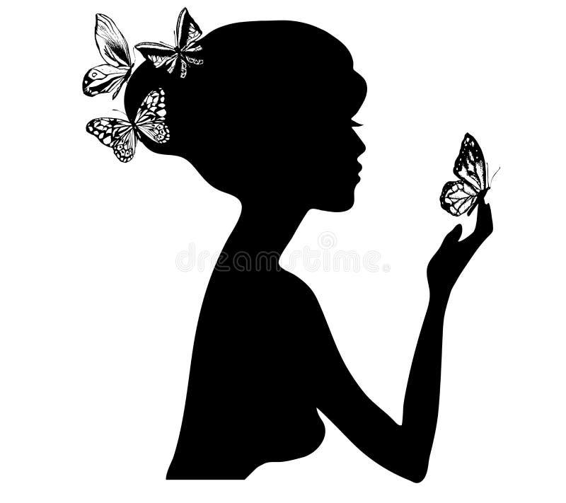 силуэт девушки бабочки красотки Иллюстрация вектора салона красоты женщины стоковые фотографии rf