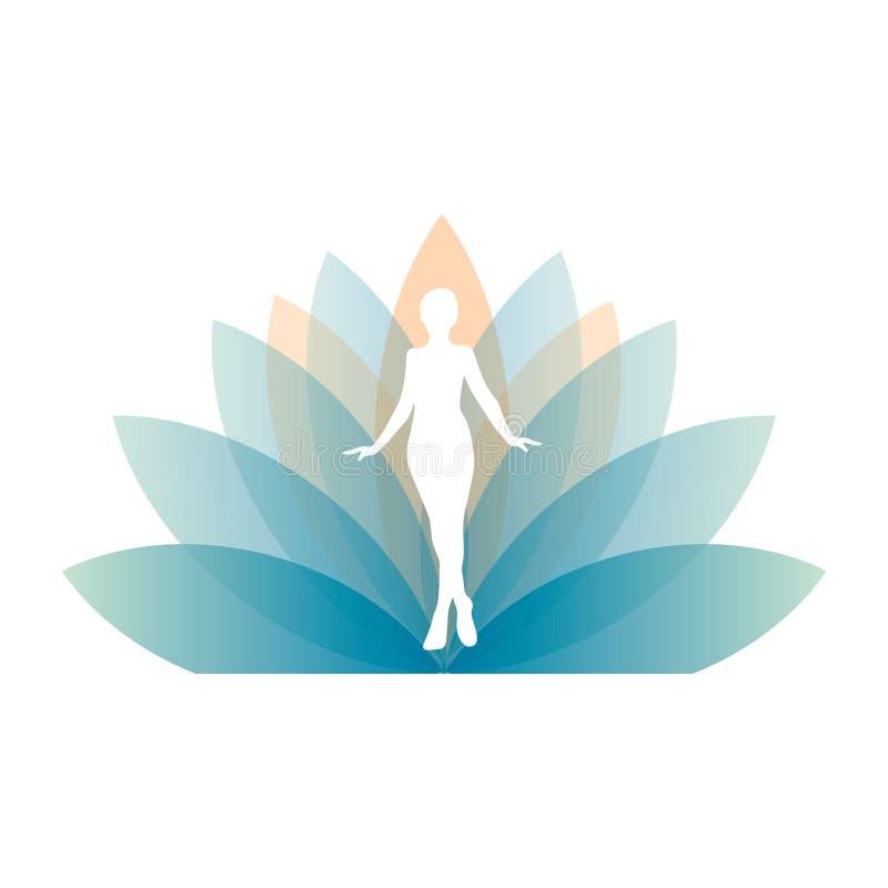 Силуэт девушки в гигантском цветке лотоса иллюстрация штока