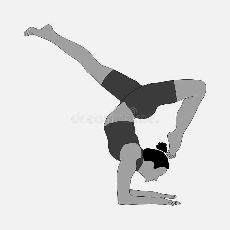 Силуэт девушки, гимнастики, спорт иллюстрация вектора