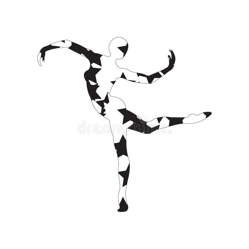 Силуэт девушки делая современный танец, фитнес, йогу, гимнастика, стоковое изображение