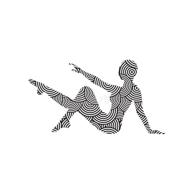 Силуэт девушки делая современный танец, фитнес, йогу, гимнастику, шпагат, балет украшенный с картиной на белой предпосылке стоковая фотография rf