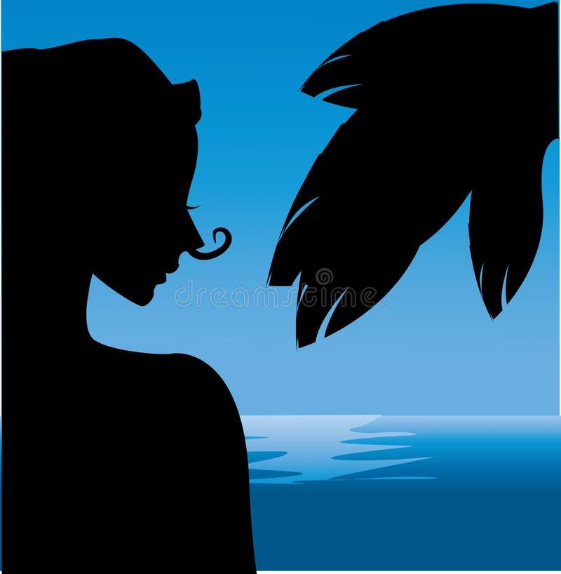 Силуэт девушки на пляже. иллюстрация вектора