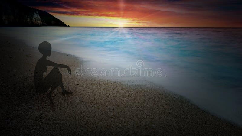 Силуэт девушки сидя самостоятельно на вечере, на пляже, на береге моря иллюстрация вектора