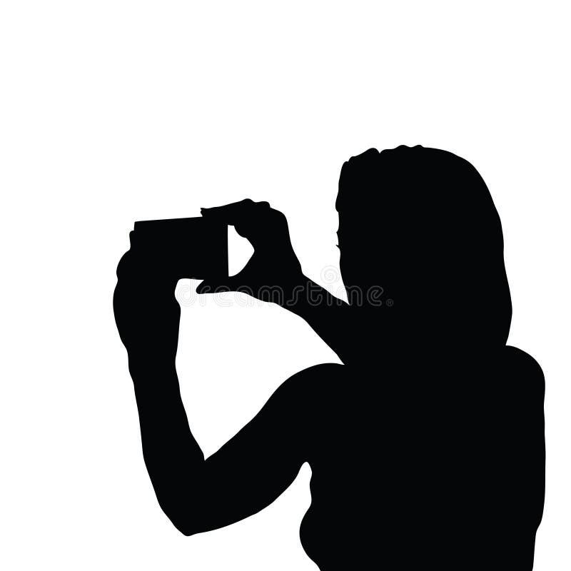 Силуэт девушки с иллюстрацией мобильного телефона стоковые изображения