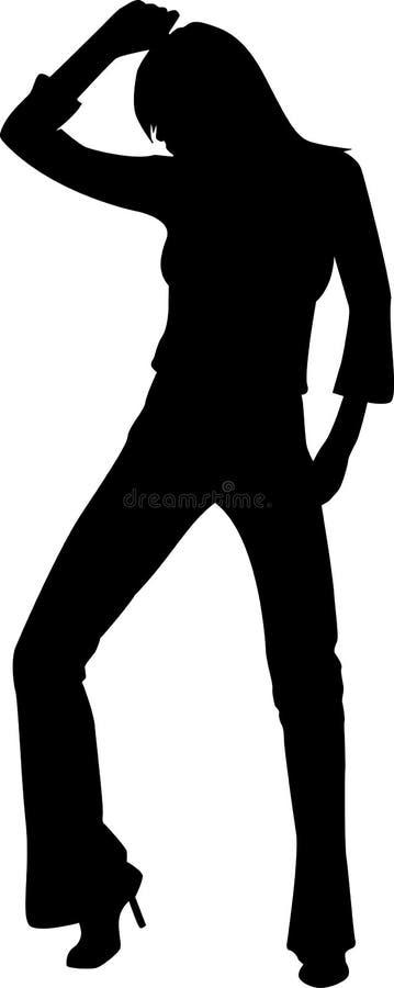 силуэт девушки танцы Стоковое фото RF