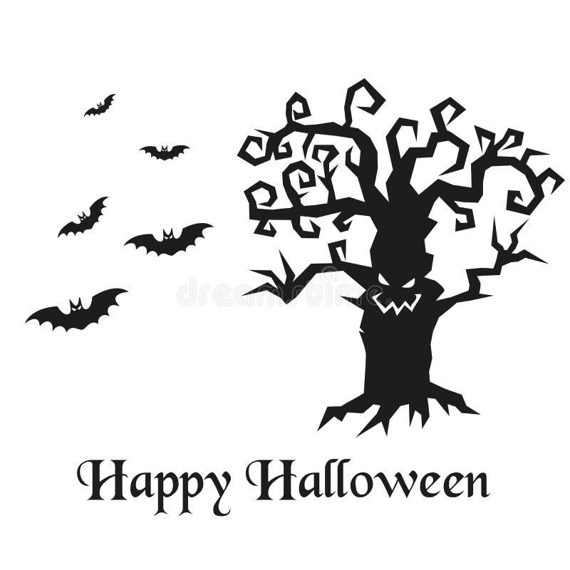 Силуэт дерева и летучих мышей хеллоуина бесплатная иллюстрация
