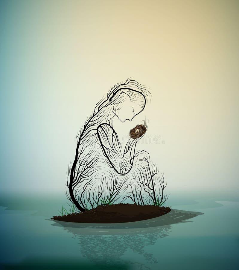 Силуэт дерева как гнездо удерживания женщины с белой птицей и скрыванием ее от затопляя реки, души дерева весны, дерева иллюстрация вектора
