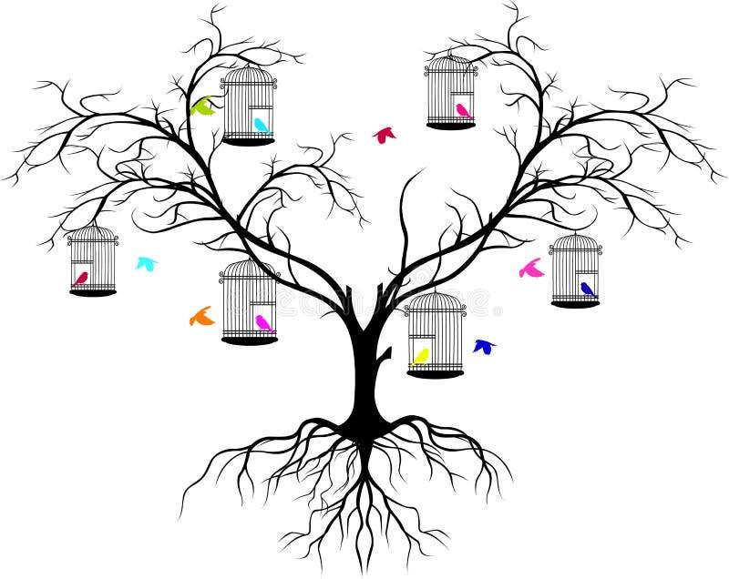 Силуэт дерева с летать птиц цвета и птица в клетке иллюстрация вектора