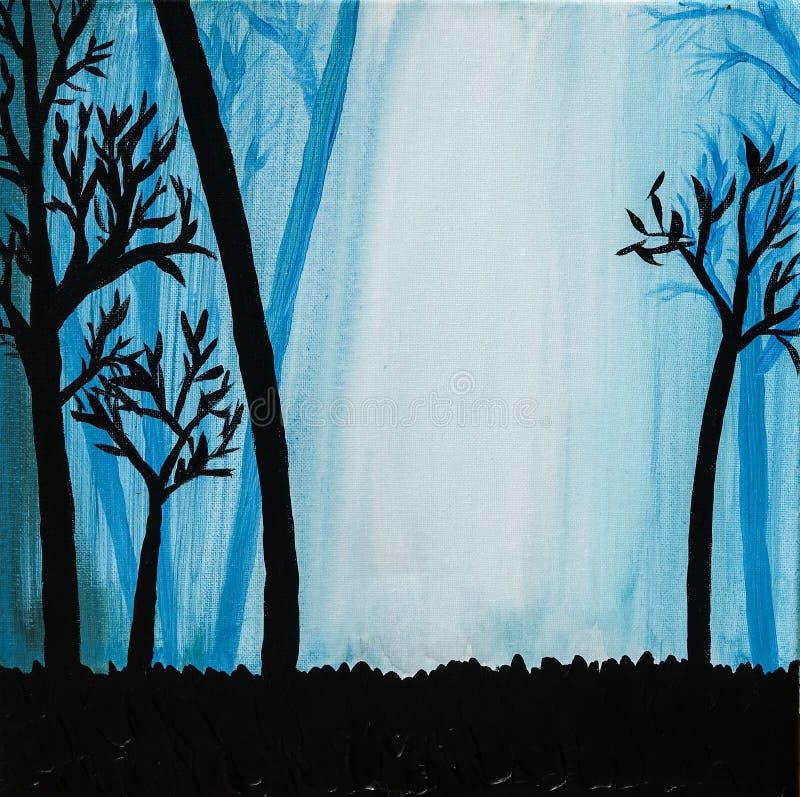 Силуэт деревьев в туманном голубом лесе бесплатная иллюстрация