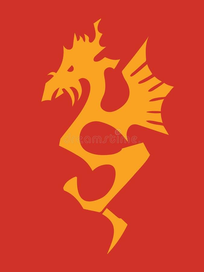 силуэт дракона иллюстрация штока
